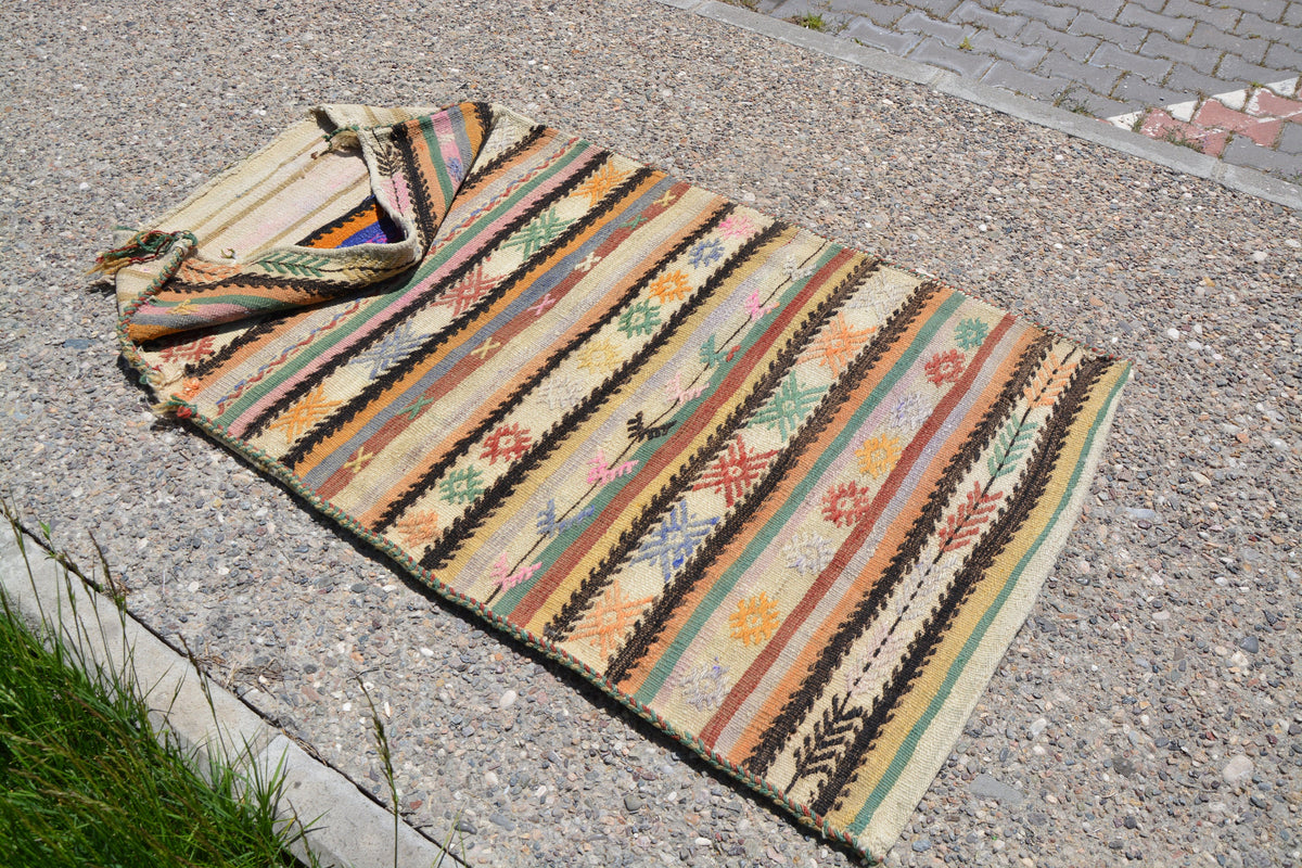 Turkish Area Storage Rug, Turkey Chuval Small Vintage Rug, Saloon Rug, Oushak Runner, Home Decor Rug,     3.0 x 5.4 Feet LQ167