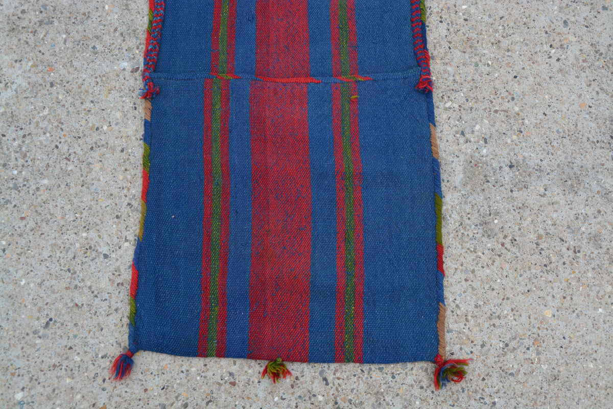 Turkish Oushak Rug, Oriental Storage Rug, Turkish Rug Heybe,  Small Turkish Rug, Oushak Vintage Rug, Vintage Wool Rug,  1.7 x 4.4 Feet LQ277