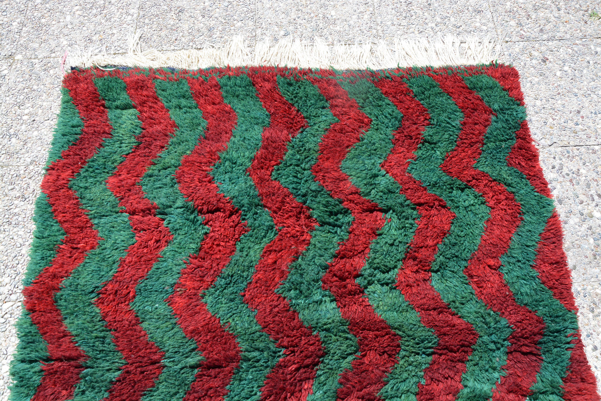 Area Tulu Rug 6x4, Home Living Burgundy Rug, Oushak Rug 4x6, Green Muted Color Rug, Eclectic Rug, Red Oushak Rug,       4.4 x 5.8 Feet LQ224