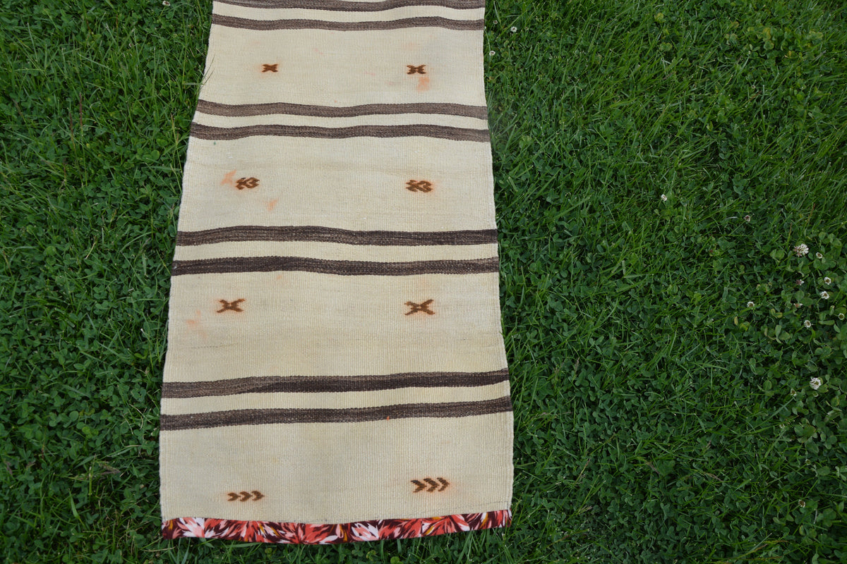 Small Turkish Rugs, Beige Boho Kilim Rug, Kilim Ottoman, Turkey Rug, Turkish Kilim Runner, Decorative Kilim Rug,    1.8 x 8.5 Feet LQ240