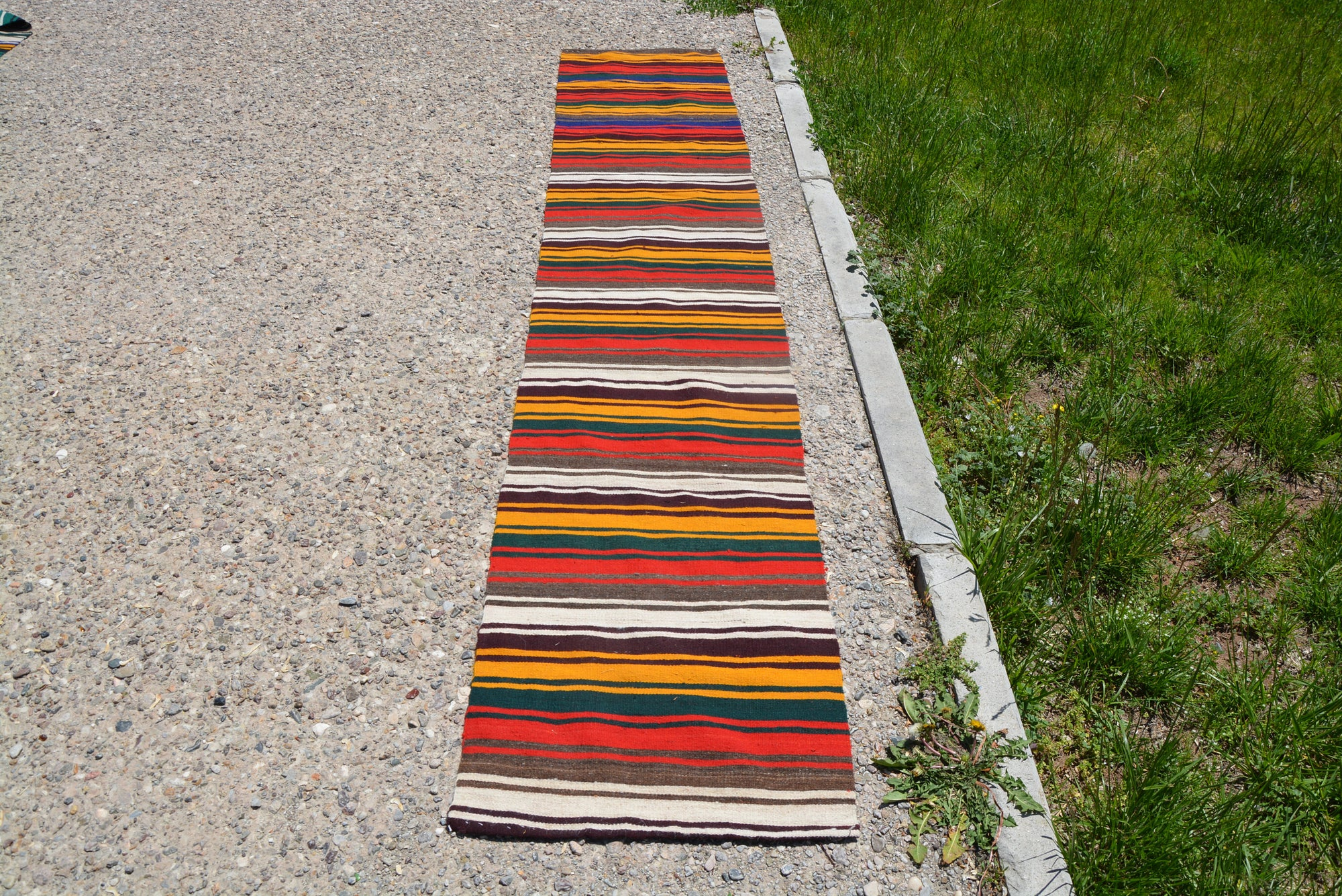 Antique Runner Small Oushak Rugs, Pastel Rug, Ethnic Rug, Carpet Rug, Faded Rug, Small Striped Rug, Turkish Rug,      1.8 x 9.7 Feet LQ264
