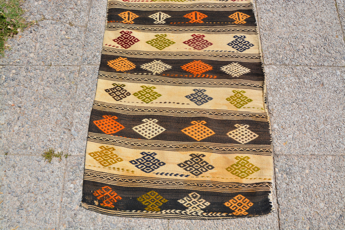 Unique Low Pile Rug, Turkish Kilim Rug, Kitchen Rug, Carpet Chuval Rug, Hand knotted Rug, Handwoven Rug,     2.2 x 5.2 Feet LQ397