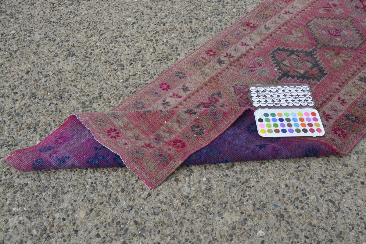 Pink Runner Turkey Rug, Pastel Runner  Kilim Oriental, Tribal Hallway Rug Runner, Pale Red Turkish Rug,      13.5 x 2.7 Feet LQ429