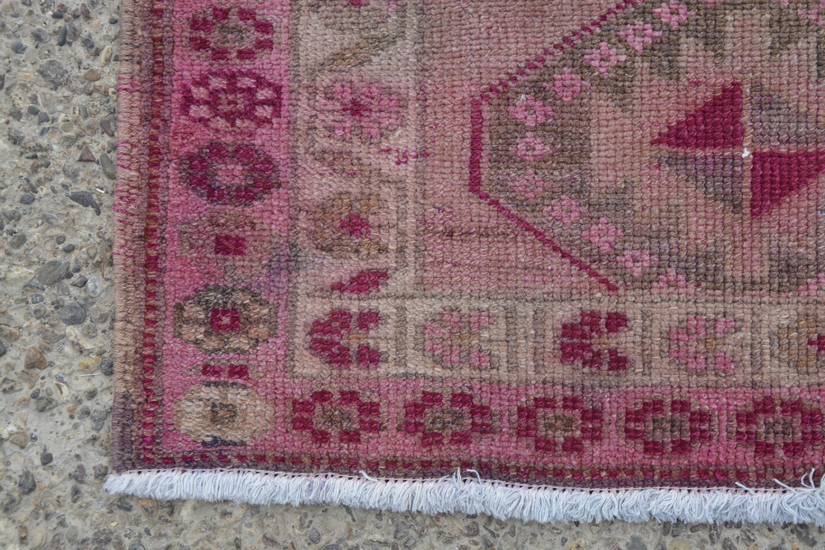 Pink Area  Boho Runner Rug, Long Runner Rug, Narrow Runner Rug, Turkey Runner Rug, 3x11 Kitchen Rug Runner,     11.4 x 2.7 Feet LQ421