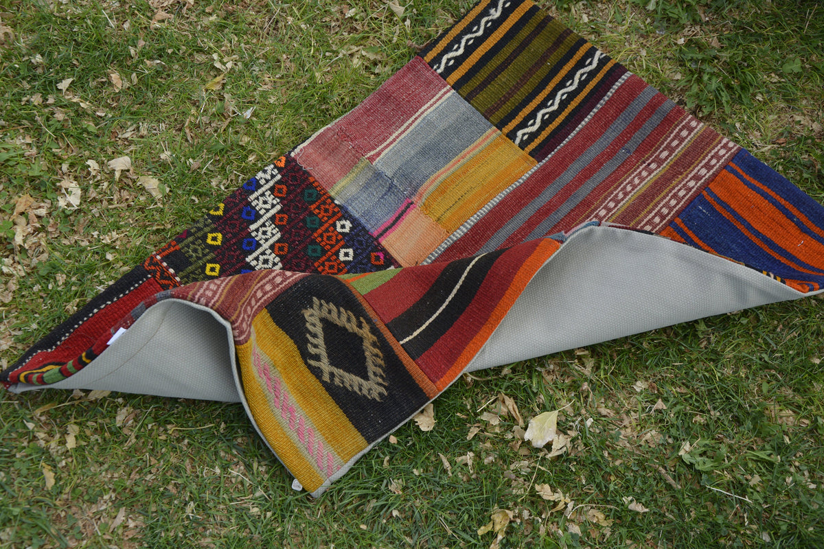 Morocco Patchwork Turkish Pillow, Large Kilim Pillow, Handwoven Vintage Turkish Pouf,         1.9 x 2.8 Feet LQ520