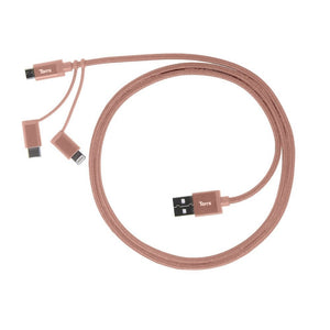 TORRII KEVABLE 3 IN1 LIGHTNING MICRO USB C CABLE ROSE GOLD