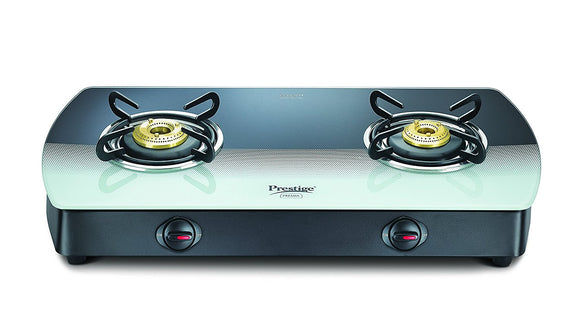 Prestige Premia Glass 2 Burner Gas Stove, Black/White