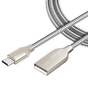 KIDA Android USB Data Charging Cable - Lighting Fast 2.4A - Pure Copper - Nylon Braided - 1 Meter - Aluminium Connectors - (Silver)