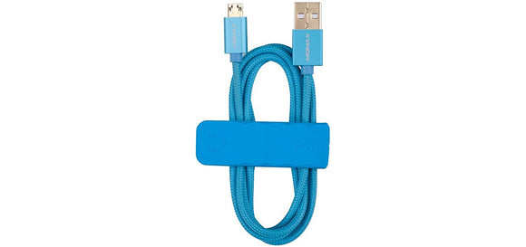 Momax Nylon Braid Android Universal Sync and Charging Cable for Samsung Galaxy (Blue)