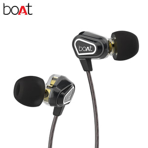 BoAt Nirvanaa Duo Dual Drivers In-Ear Earphones With In-Line Microphone (Black)