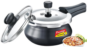 Prestige Deluxe Duo Plus Induction Base Aluminum Pressure Cooker, 1.5 Litres, Black