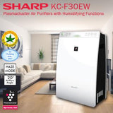 Sharp Plasmacluster Air Purifier With Humidification (KC-F30E-W) For Rooms Of Up To 226 Sq Ft In Size