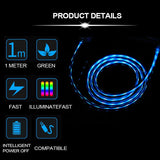 KIDA LED Glowing Fast Charging Cable Visible Flowing Light 3 in 1 Charger Cable for Micro USB, iOS and Type-C Devices.(1m/3.2 ft Blue) Compatible with iPhone, Samsung Galaxy, One Plus, Moto G, Nokia.