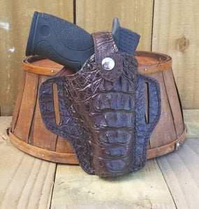 Dark Brown Hornback Caiman Alligator Gun Holster