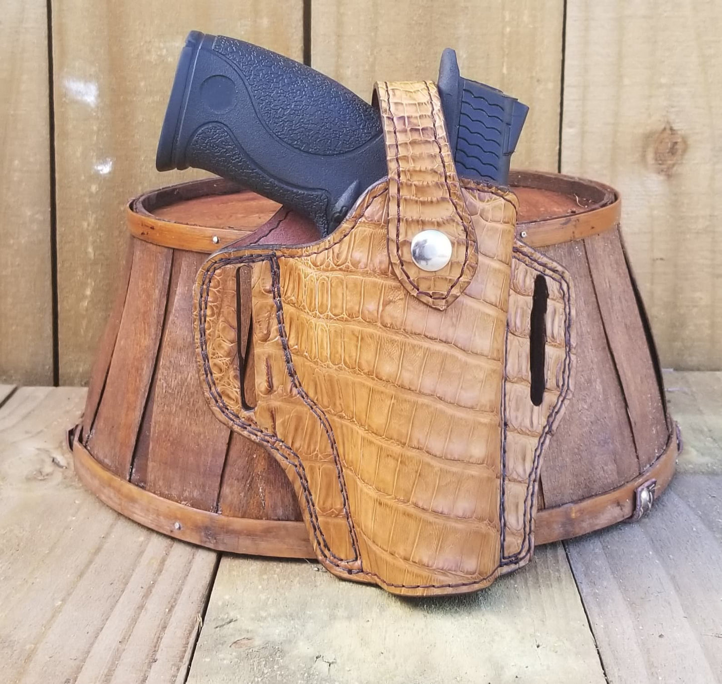 Tan Caiman Belly Alligator Gun Holster
