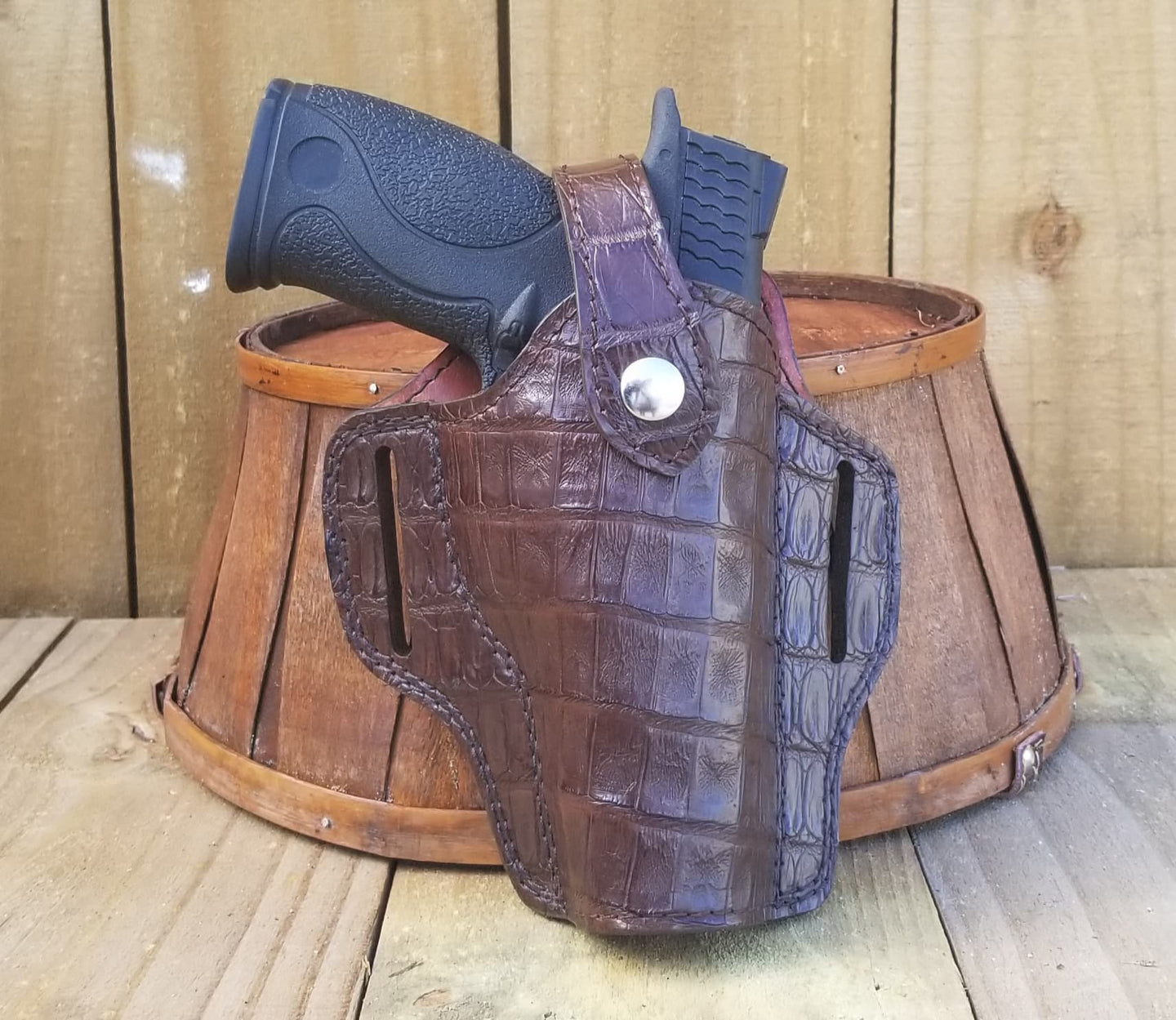 Brown Caiman Belly Alligator Gun Holster