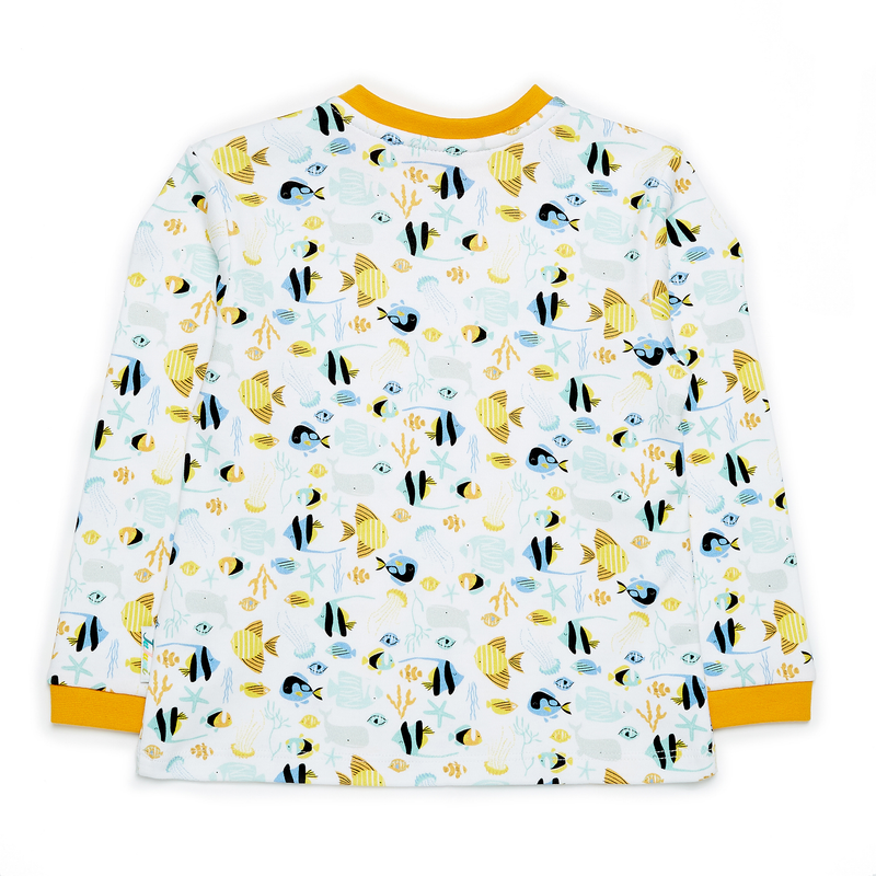JuJuni ethical childrens tee ocean fish print colourful organic cotton
