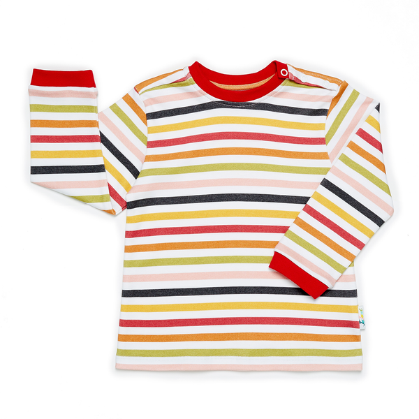 JuJuni ethical kids childrens striped stripe t-shirt colourful organic cotton