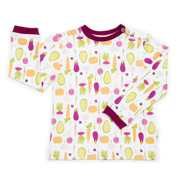 JuJuni ethical childrens t-shirt vegetable veg avocado print colourful organic cotton
