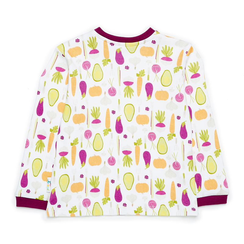 JuJuni ethical childrens tee veg vegetable avocado print colourful organic cotton