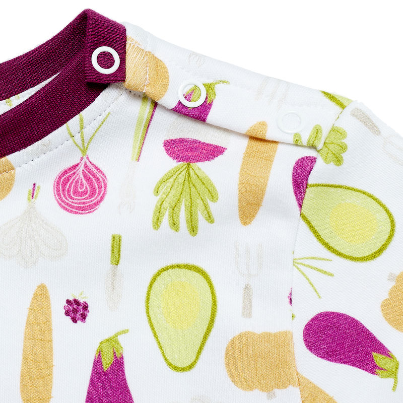 Jujuni organic cotton kids t-shirt neck popper veg vegetable avocado print