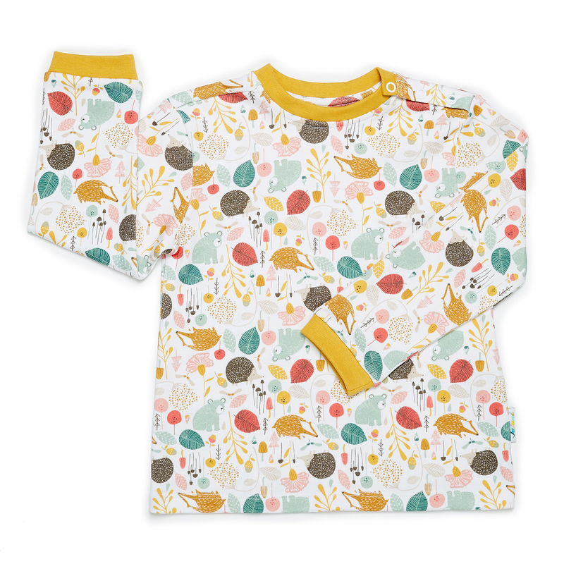JuJuni ethical childrens t-shirt woodland animal print colourful organic cotton kids bear hedgehog