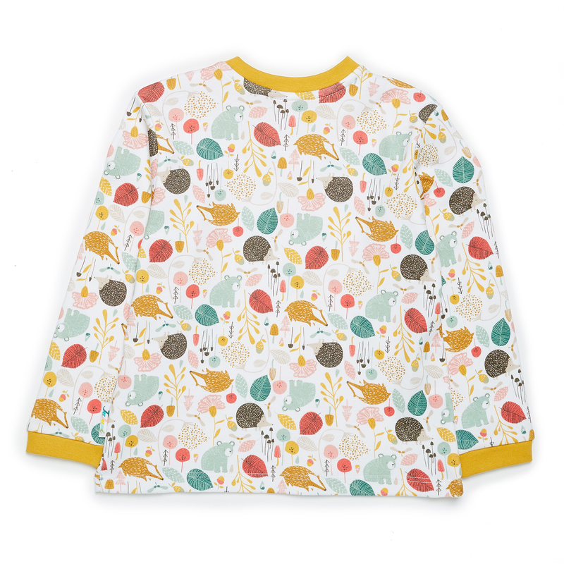 JuJuni ethical childrens tee woodland animal print colourful organic cotton bear hedgehog