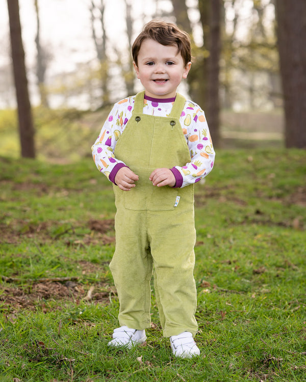 Jujuni unisex organic cotton childrens kids colourful ethical cord dungarees green olive