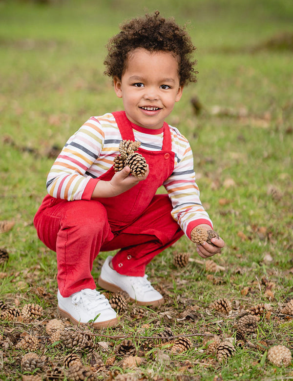 Red Patch Pocket Organic Cotton Corduroy Dungarees