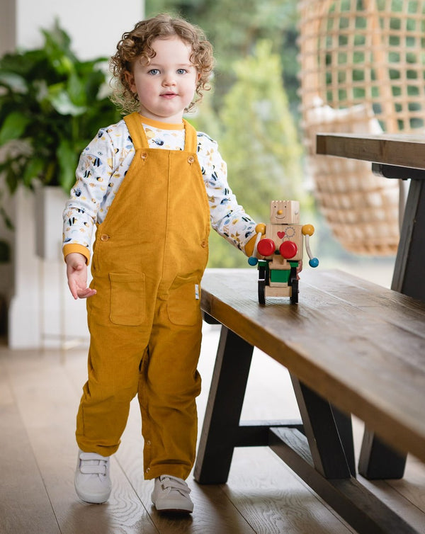 Jujuni organic cotton unisex childrens kids colourful ethical cord dungarees mustard yellow