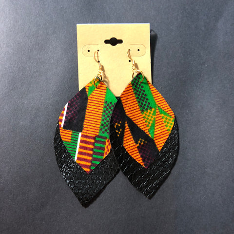 Vegan Leather Kente Leaf Earrings