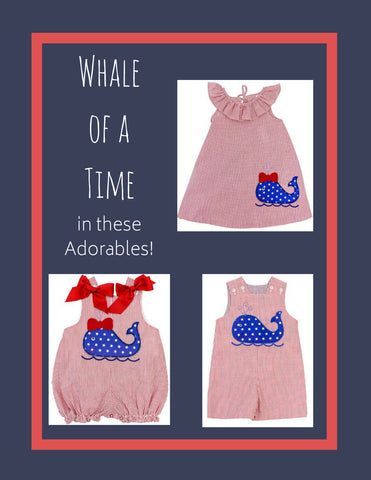 Bailey Boys Whale stars and stripes bubble dress john john