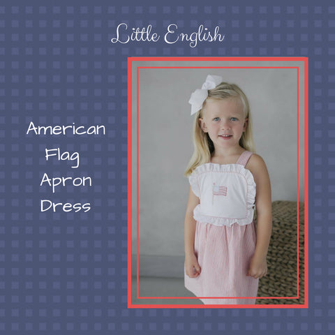 Little English Flag Apron Dress red white and blue american