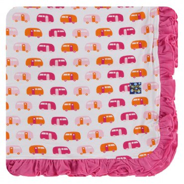 Print Ruffle Toddler Blanket in Natural Camper
