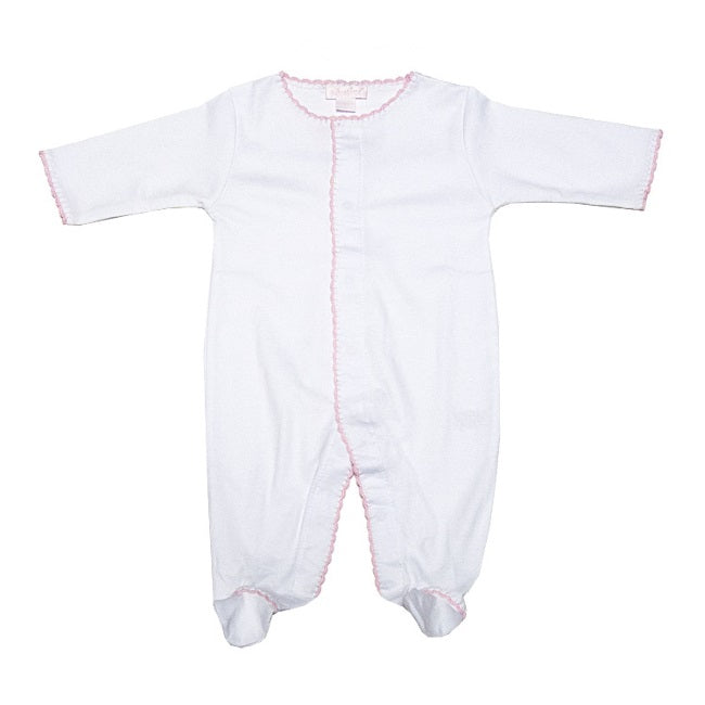 Kissy Kissy | Baby Premiere White with Pink Picot Trim Footie