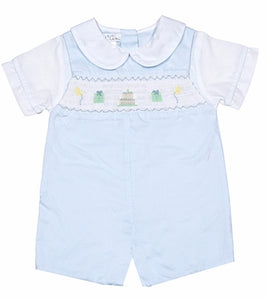 Petit Ami|Boys Light Blue Smocked Happy Birthday Romper Suit
