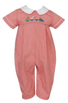 Anavini Red Check Farm Smocked Romper