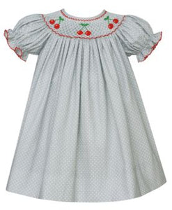Anavini Gray Polka Dot Cherry Smocked Bishop