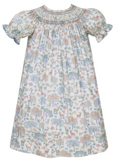 Anavini Deer Print Smocked Bishop