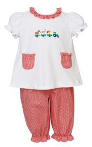 Anavini Red Checked Wagon Pantaloon Set