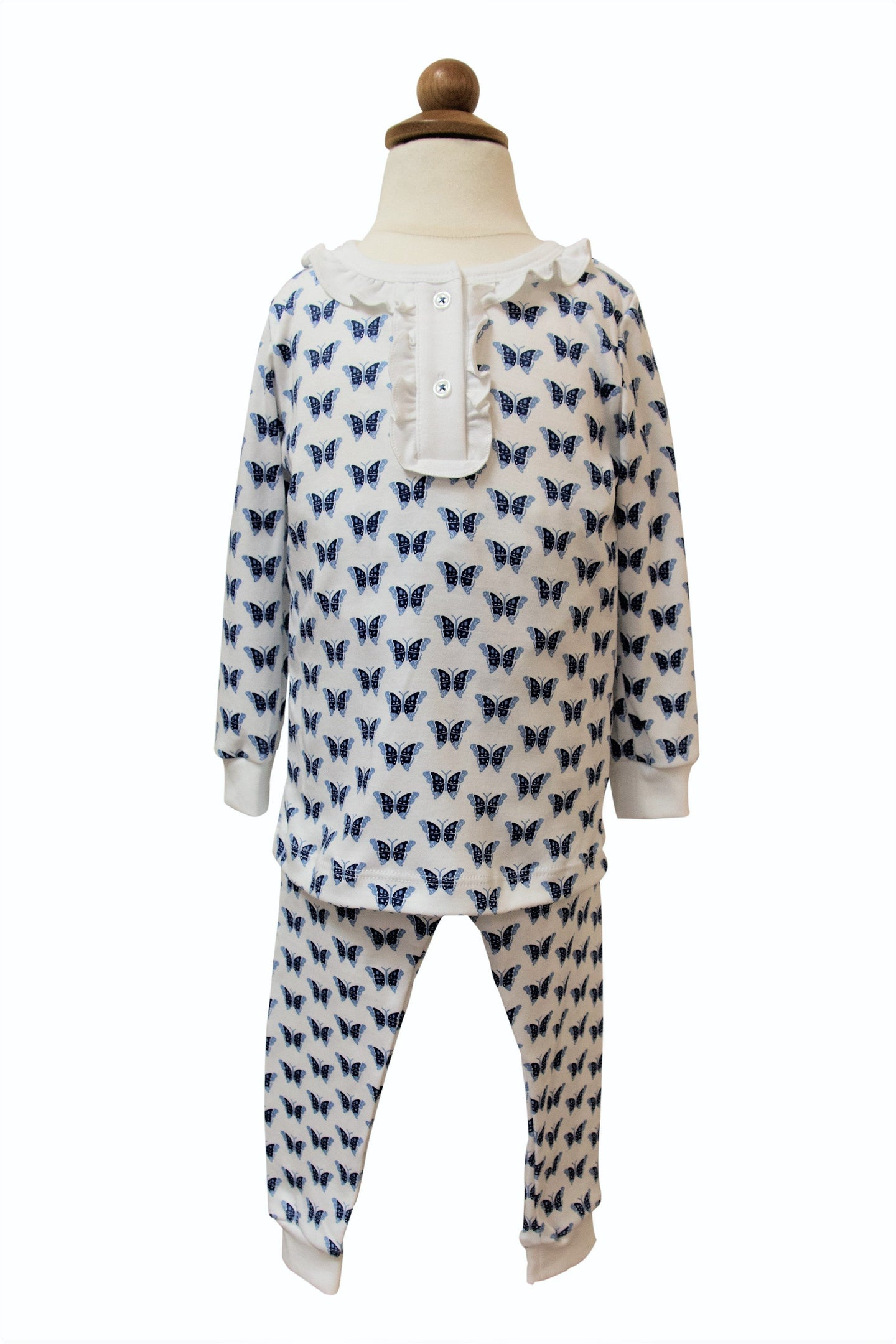 Lila & Hayes | Alden Ruffled Two-Piece Pajama Set/Butterflies