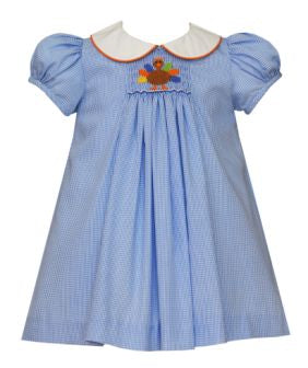 Petit Bebe Blue Checked Smocked Turkey Dress