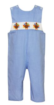 Petit Bebe Blue Check Smocked Turkey Longall