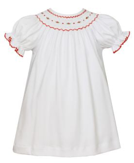Petit Bebe White Knit Geometric Smocked Bishop
