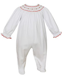 Petit Bebe White Geometric Smocked Footie