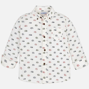 Mayoral|Long Sleeved Patterned Button Down Shirt