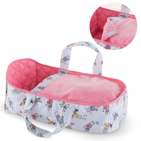 "<span>This Carry Bed is an essential travel companion for small 12"" Corolle baby dolls! </span><br><span>Recommended ages 18 months and up.</span>"