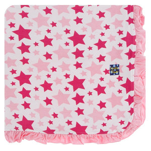 Print Ruffle Toddler Blanket in Flamingo Star