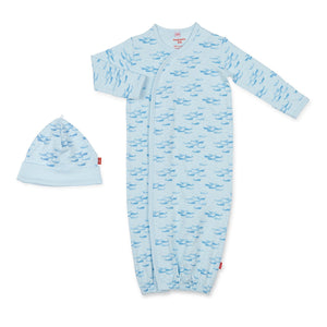 Magnificent Baby | Blue Narwhal Magnetic Gown & Hat Set