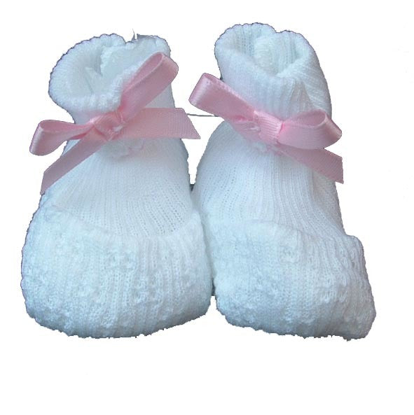 Paty|Booties with Pink Bow Trim